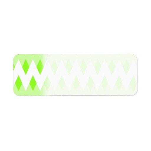 Modelo de zigzag verde con formas del diamante etiqueta de remite