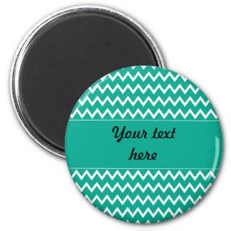Modelo de zigzag verde y blanco personalizado imán redondo 5 cm