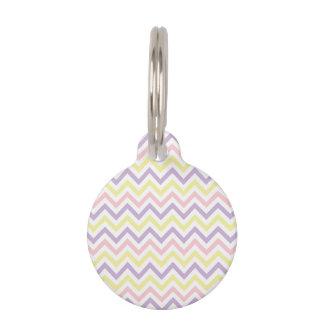 Modelo de zigzags en colores pastel de Pascua Placas Para Mascotas