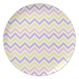 Modelo de zigzags en colores pastel de Pascua Plato