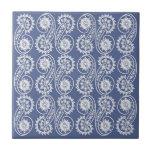 Modelo decorativo blanco de Paisley en azul Teja Ceramica