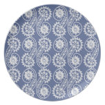 Modelo decorativo blanco de Paisley en azul Plato Para Fiesta
