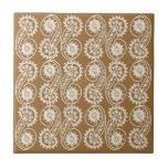 Modelo decorativo blanco de Paisley en Brown Azulejos