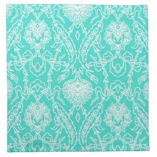 Modelo decorativo de la turquesa de lujo y del servilletas imprimidas