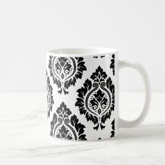 Modelo decorativo del damasco - negro taza clásica