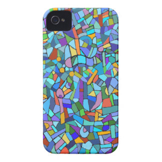 Modelo decorativo del mosaico azul iPhone 4 carcasa
