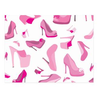 Modelo decorativo del zapato rosado postales