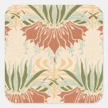 modelo decorativo floral intrépido del nouveau del calcomanias cuadradas