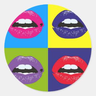 Modelo Deisgn de los labios del arte pop Pegatina Redonda