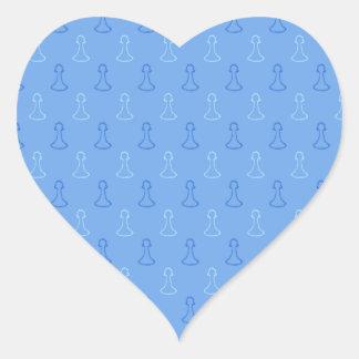 Modelo del ajedrez en azul pegatina de corazon personalizadas