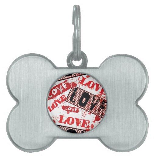 Modelo del amor del Grunge Placas De Mascota