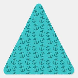 Modelo del ancla de la turquesa pegatina triangular