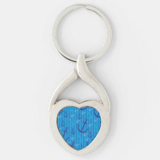 Modelo del ancla llavero plateado en forma de corazón