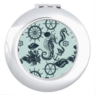 Modelo del animal de mar del vintage espejos para el bolso