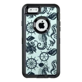 Modelo del animal de mar del vintage funda OtterBox defender para iPhone 6