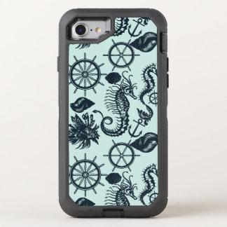Modelo del animal de mar del vintage funda OtterBox defender para iPhone 7