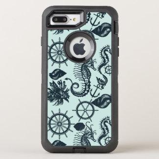 Modelo del animal de mar del vintage funda OtterBox defender para iPhone 7 plus