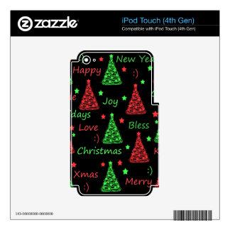 Modelo del Año Nuevo - verde y rojo iPod Touch 4G Skin