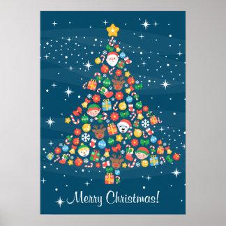 Modelo del árbol de navidad en azul estrellado póster
