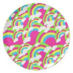 Modelo del arco iris de las rosas fuertes platos