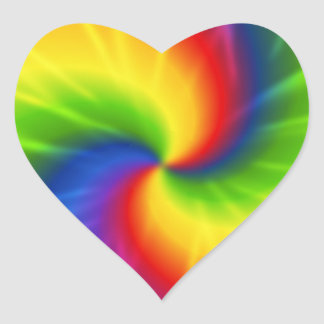 Modelo del arco iris del teñido anudado pegatina en forma de corazón
