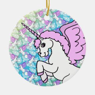 Modelo del arco iris del unicornio ornamento de navidad