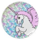 Modelo del arco iris del unicornio plato