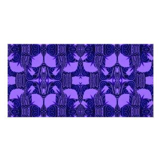 Modelo del art déco en púrpura y azul marino tarjeta fotografica