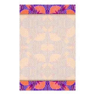 Modelo del art déco - púrpura y anaranjado intrépi papelería personalizada