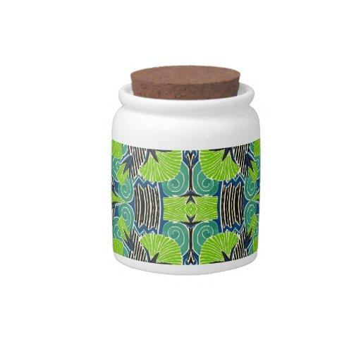 Modelo del art déco - verdes tropicales y azules jarra para caramelo