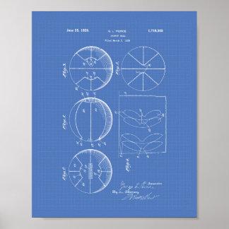 Modelo del arte de la patente del baloncesto 1929 póster