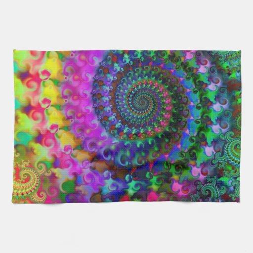 Modelo del arte del fractal del arco iris del hipp toalla de mano