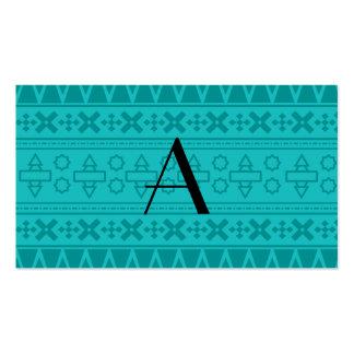 Modelo del Azteca de la turquesa del monograma Tarjeta De Negocio