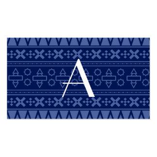 Modelo del Azteca de los azules marinos del monogr Plantilla De Tarjeta De Negocio