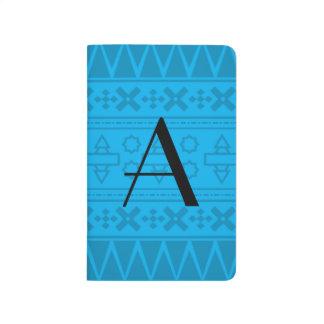 Modelo del Azteca del azul de cielo del monograma Cuaderno