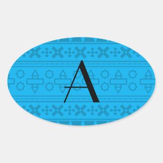 Modelo del Azteca del azul de cielo del monograma Pegatinas De Oval