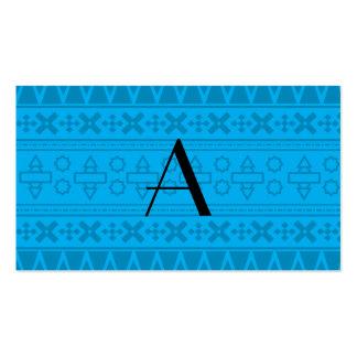 Modelo del Azteca del azul de cielo del monograma Plantilla De Tarjeta De Negocio
