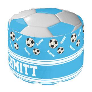Modelo del azul cielo, blanco y negro del fútbol puf redondo