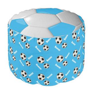 Modelo del azul cielo del fútbol, blanco y negro puf redondo
