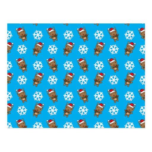 Modelo del azul de cielo del copo de nieve del ren tarjeta postal