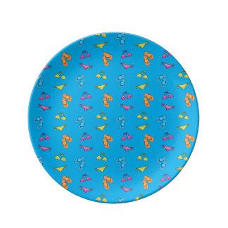 Modelo del azul del bikini y de cielo de las sanda platos de cerámica