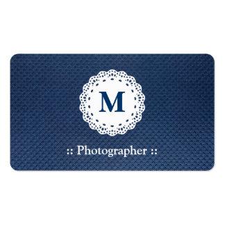 Modelo del azul del monograma del cordón del fotóg tarjetas de visita