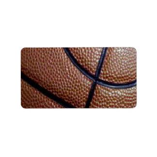 Modelo del baloncesto de la piel de cerdo con las etiquetas de dirección