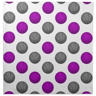 Modelo del baloncesto de la púrpura y de los gris  servilleta imprimida