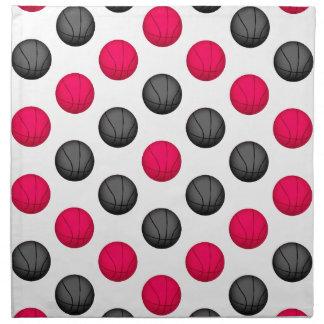 Modelo del baloncesto de las rosas fuertes y del g servilleta de papel
