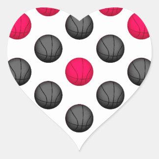 Modelo del baloncesto de las rosas fuertes y del calcomanías de corazones personalizadas