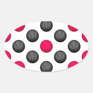 Modelo del baloncesto de las rosas fuertes y del calcomanía de oval