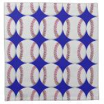 Modelo del béisbol en fondo azul servilletas