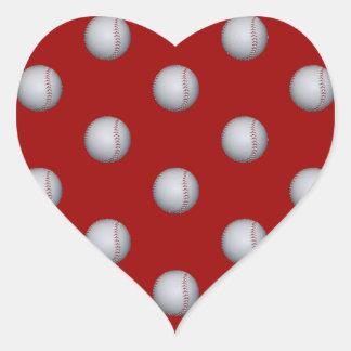 Modelo del béisbol pegatina en forma de corazón