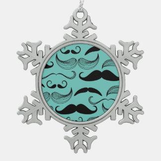 Modelo del bigote adorno de peltre en forma de copo de nieve